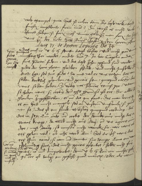 Manuskriptseite aus Luther Predigt